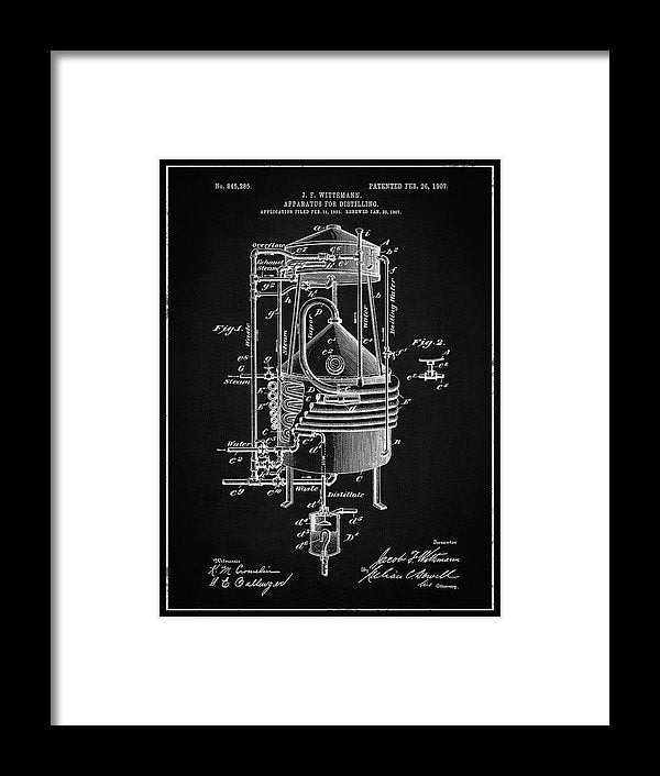 Vintage Alcohol Still Patent, 1907 - Framed Print from Wallasso - The Wall Art Superstore