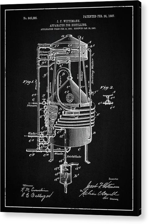 Vintage Alcohol Still Patent, 1907 - Acrylic Print from Wallasso - The Wall Art Superstore