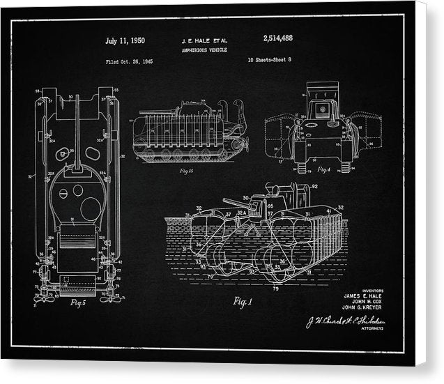 Vintage Amphibious Tank Patent, 1950 - Canvas Print from Wallasso - The Wall Art Superstore