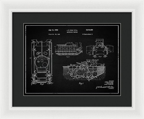 Vintage Amphibious Tank Patent, 1950 - Framed Print from Wallasso - The Wall Art Superstore