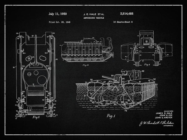 Vintage Amphibious Tank Patent, 1950 - Art Print from Wallasso - The Wall Art Superstore