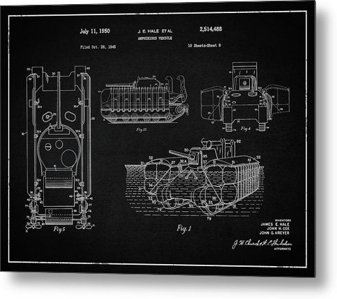 Vintage Amphibious Tank Patent, 1950 - Metal Print from Wallasso - The Wall Art Superstore