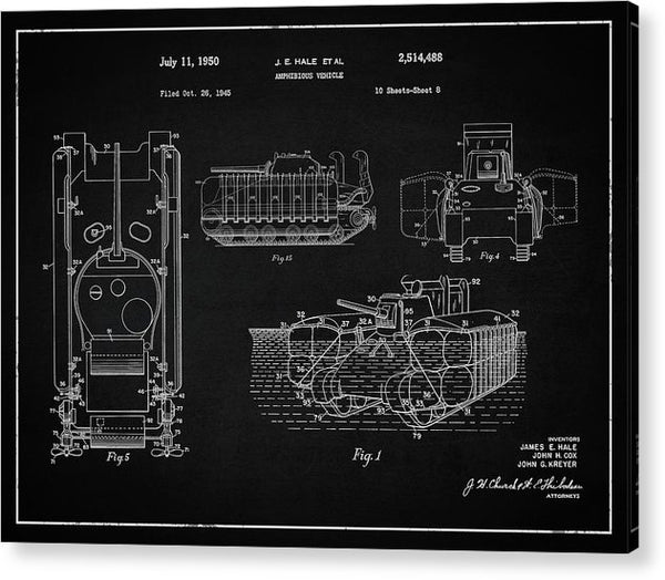 Vintage Amphibious Tank Patent, 1950 - Acrylic Print from Wallasso - The Wall Art Superstore