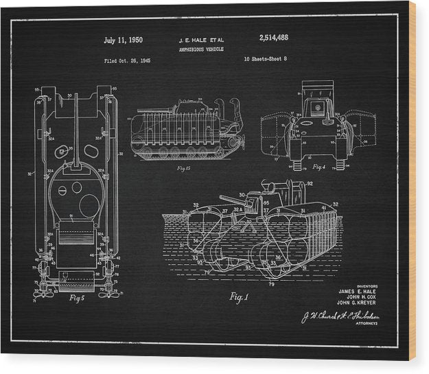 Vintage Amphibious Tank Patent, 1950 - Wood Print from Wallasso - The Wall Art Superstore