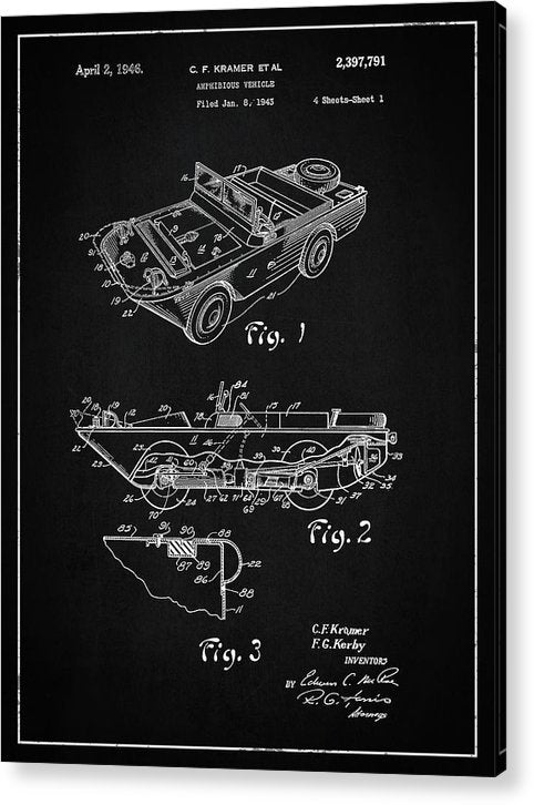 Vintage Amphibious Vehicle Patent, 1946 - Acrylic Print from Wallasso - The Wall Art Superstore