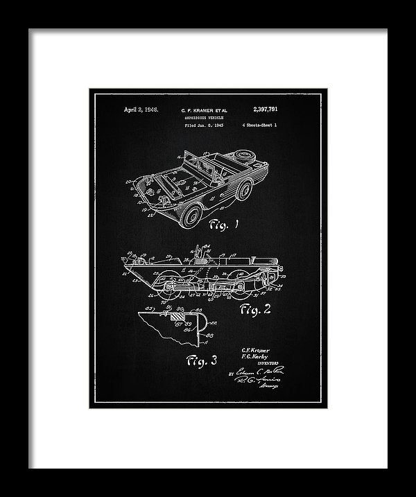 Vintage Amphibious Vehicle Patent, 1946 - Framed Print from Wallasso - The Wall Art Superstore