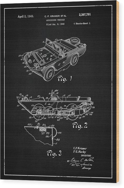Vintage Amphibious Vehicle Patent, 1946 - Wood Print from Wallasso - The Wall Art Superstore