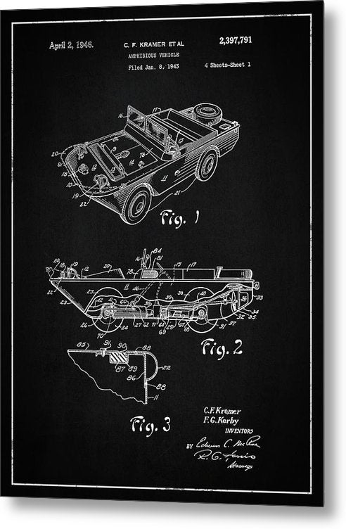 Vintage Amphibious Vehicle Patent, 1946 - Metal Print from Wallasso - The Wall Art Superstore