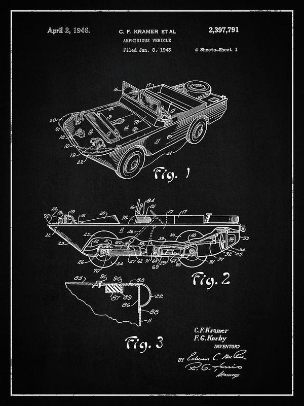 Vintage Amphibious Vehicle Patent, 1946 - Art Print from Wallasso - The Wall Art Superstore