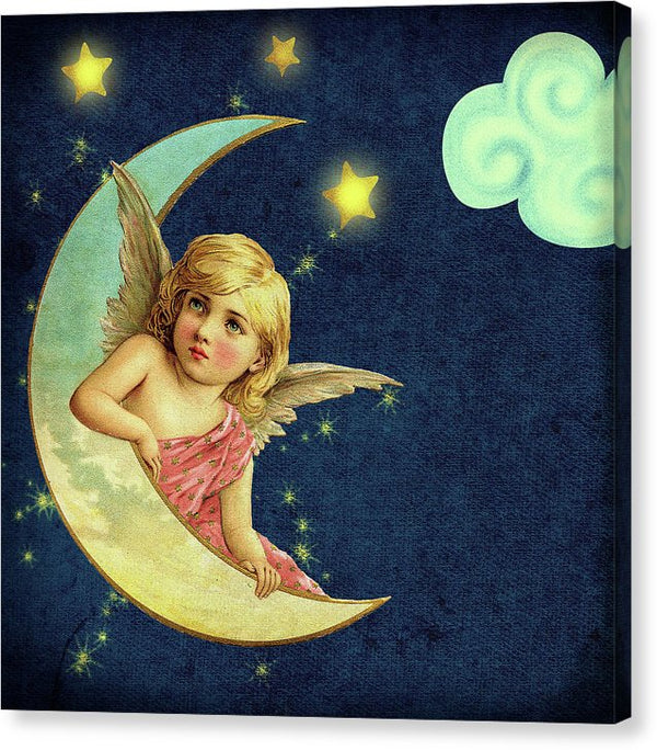 Vintage Angel In Moon Illustration - Canvas Print from Wallasso - The Wall Art Superstore