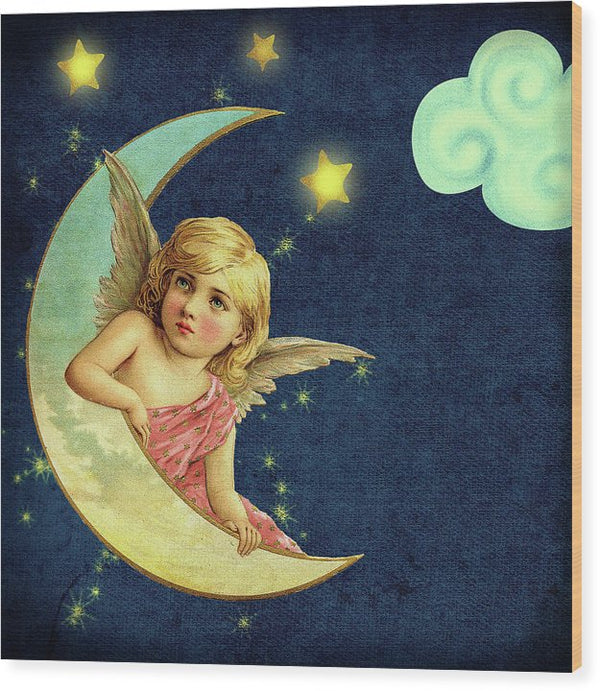 Vintage Angel In Moon Illustration - Wood Print from Wallasso - The Wall Art Superstore