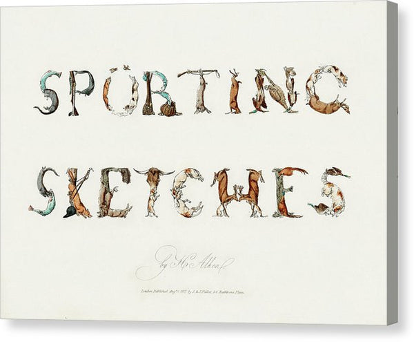 Vintage Animal Sporting Sketches Typography, 1817 - Canvas Print from Wallasso - The Wall Art Superstore