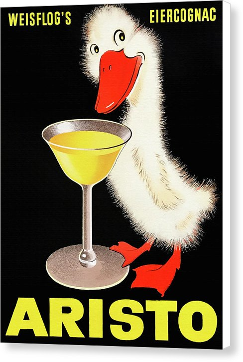 Vintage Aristo Cognac Duck Poster - Canvas Print from Wallasso - The Wall Art Superstore