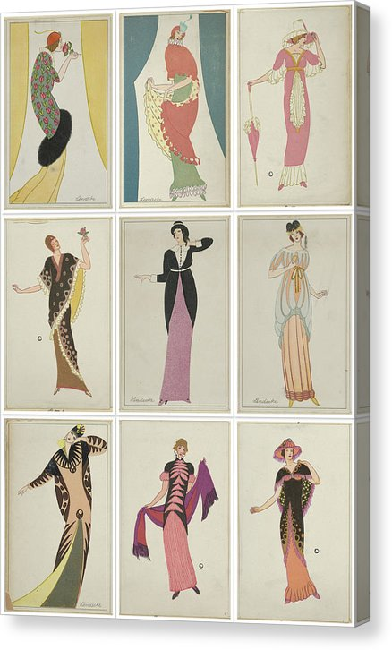 Vintage Art Deco Fashion Design Sketch Collage, 1912 - Canvas Print from Wallasso - The Wall Art Superstore