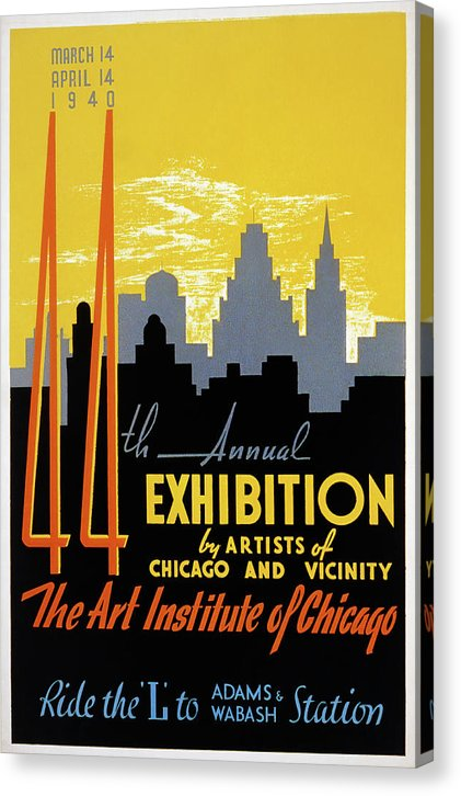 Vintage Art Institute of Chicago Poster, 1940 - Canvas Print from Wallasso - The Wall Art Superstore