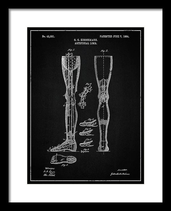 Vintage Artificial Leg Patent, 1864 - Framed Print from Wallasso - The Wall Art Superstore