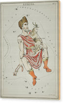 Vintage Astronomy Chart of Auriga Constellation - Wood Print from Wallasso - The Wall Art Superstore
