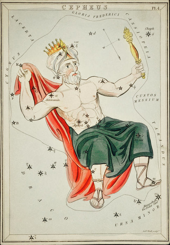 Vintage Astronomy Chart of Cepheus Constellation - Art Print from Wallasso - The Wall Art Superstore