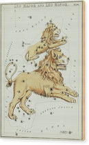 Vintage Astronomy Chart of Leo Major and Leo Minor Constellation - Wood Print from Wallasso - The Wall Art Superstore