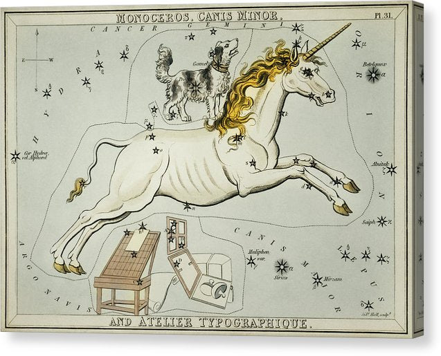Vintage Astronomy Chart of Monoceros, Canis Minor and The Atelier Typographique Constellations - Canvas Print from Wallasso - The Wall Art Superstore