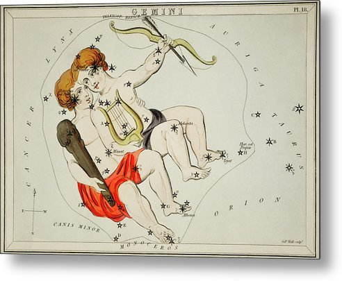 Vintage Astronomy Chart of Zodiac Gemini Constellation - Metal Print from Wallasso - The Wall Art Superstore