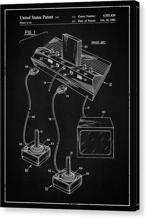 Vintage Atari 2600 Patent, 1985 - Canvas Print from Wallasso - The Wall Art Superstore