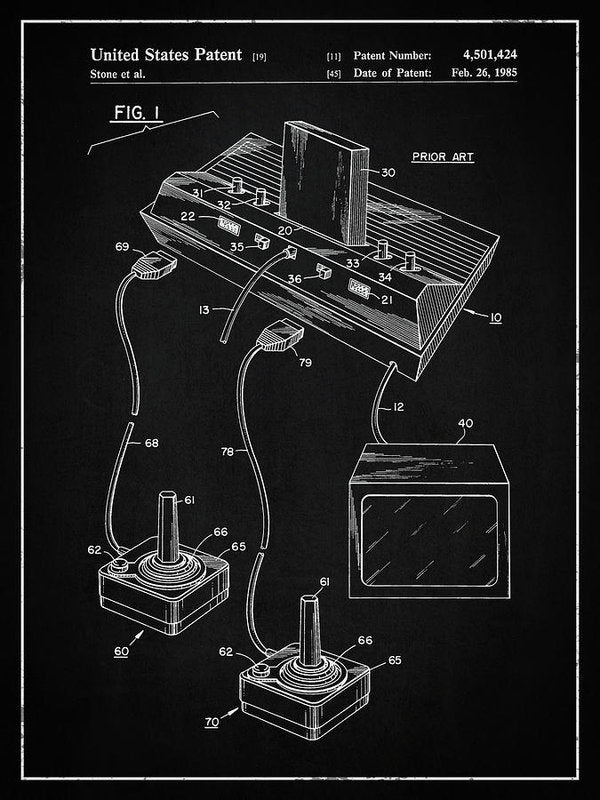 Vintage Atari 2600 Patent, 1985 - Art Print from Wallasso - The Wall Art Superstore