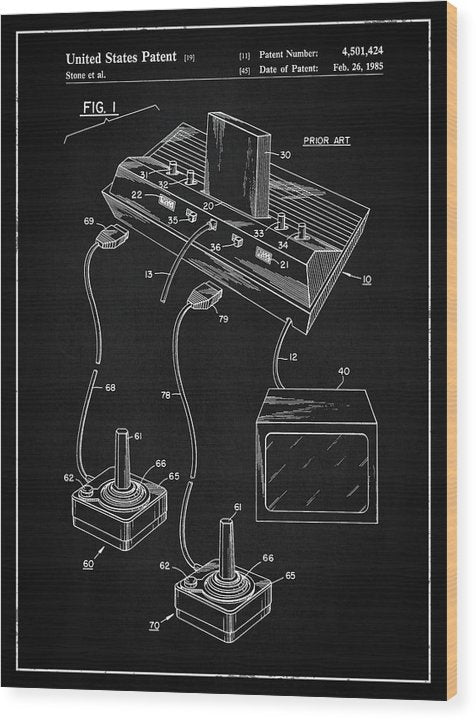 Vintage Atari 2600 Patent, 1985 - Wood Print from Wallasso - The Wall Art Superstore