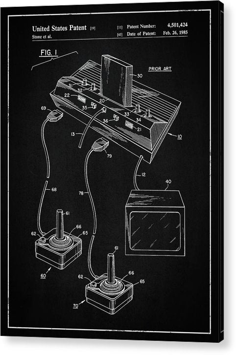 Vintage Atari 2600 Patent, 1985 - Acrylic Print from Wallasso - The Wall Art Superstore