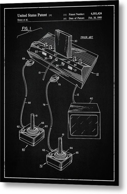 Vintage Atari 2600 Patent, 1985 - Metal Print from Wallasso - The Wall Art Superstore