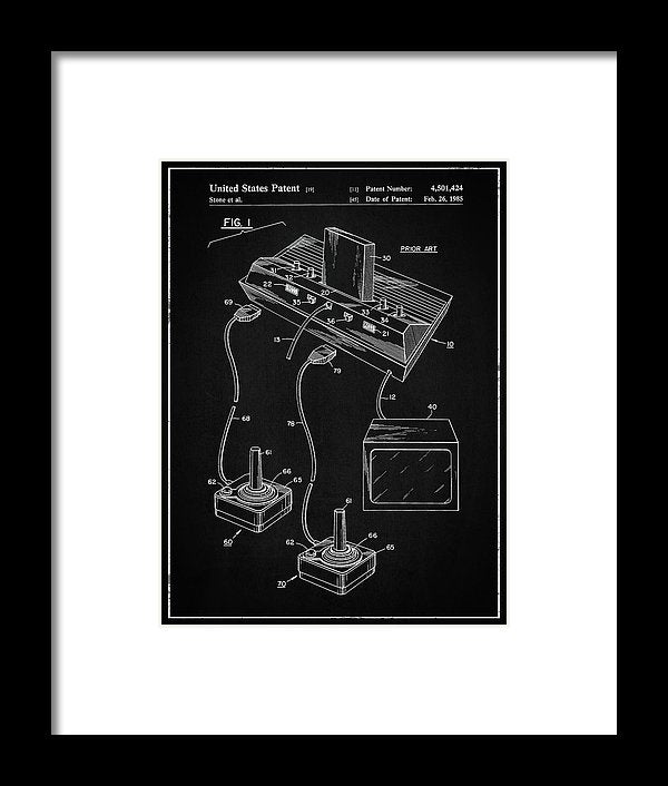 Vintage Atari 2600 Patent, 1985 - Framed Print from Wallasso - The Wall Art Superstore