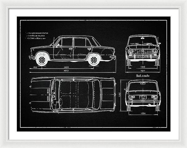 Vintage Automobile Design - Framed Print from Wallasso - The Wall Art Superstore