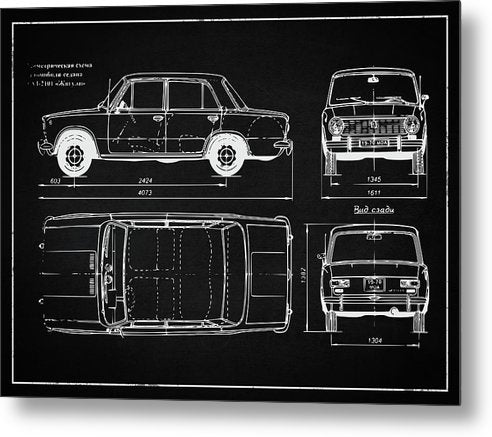 Vintage Automobile Design - Metal Print from Wallasso - The Wall Art Superstore