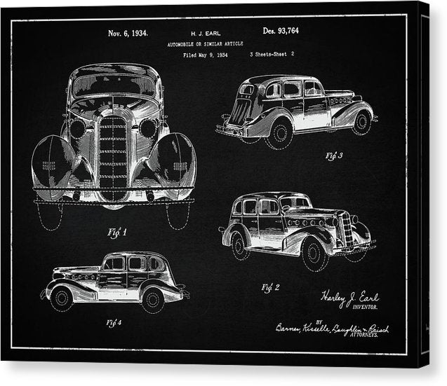 Vintage Automobile Patent, 1934 - Canvas Print from Wallasso - The Wall Art Superstore