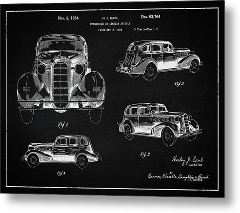 Vintage Automobile Patent, 1934 - Metal Print from Wallasso - The Wall Art Superstore