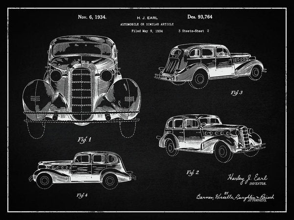 Vintage Automobile Patent, 1934 - Art Print from Wallasso - The Wall Art Superstore