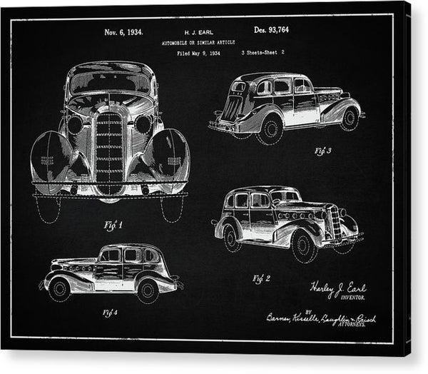 Vintage Automobile Patent, 1934 - Acrylic Print from Wallasso - The Wall Art Superstore