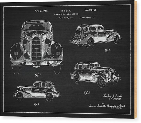 Vintage Automobile Patent, 1934 - Wood Print from Wallasso - The Wall Art Superstore