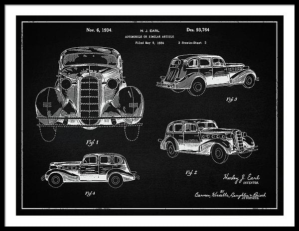 Vintage Automobile Patent, 1934 - Framed Print from Wallasso - The Wall Art Superstore