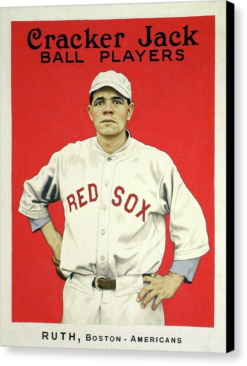 Vintage Babe Ruth Cracker Jack Poster - Canvas Print from Wallasso - The Wall Art Superstore