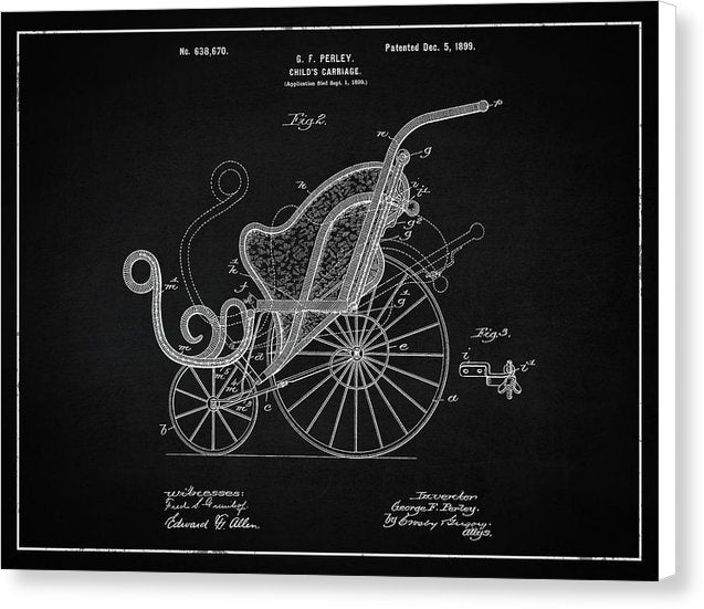 Vintage Baby Carriage Patent, 1899 - Canvas Print from Wallasso - The Wall Art Superstore