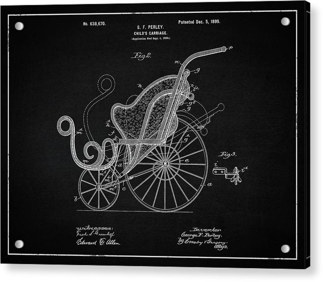 Vintage Baby Carriage Patent, 1899 - Acrylic Print from Wallasso - The Wall Art Superstore