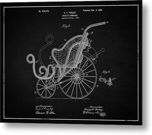 Vintage Baby Carriage Patent, 1899 - Metal Print from Wallasso - The Wall Art Superstore