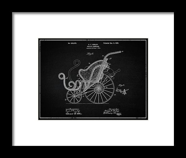 Vintage Baby Carriage Patent, 1899 - Framed Print from Wallasso - The Wall Art Superstore