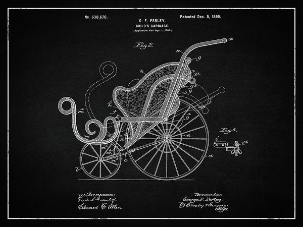 Vintage Baby Carriage Patent, 1899 - Art Print from Wallasso - The Wall Art Superstore