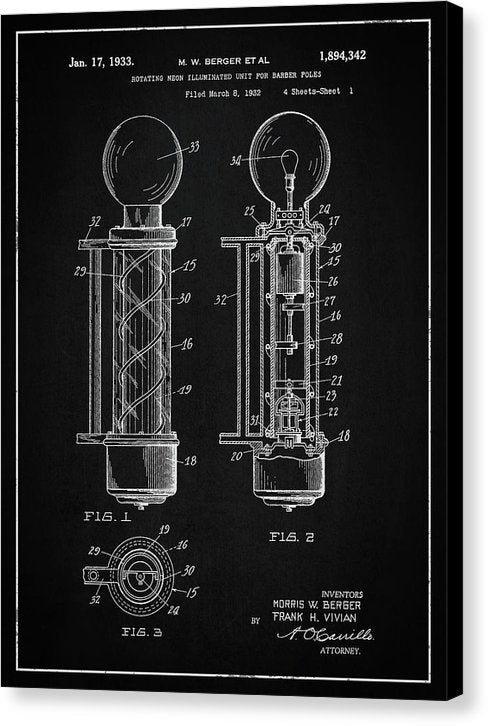 Vintage Barber Pole Patent, 1933 - Canvas Print from Wallasso - The Wall Art Superstore