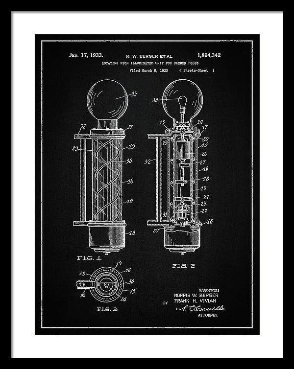 Vintage Barber Pole Patent, 1933 - Framed Print from Wallasso - The Wall Art Superstore