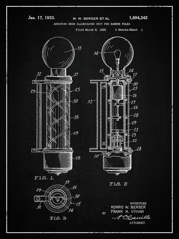 Vintage Barber Pole Patent, 1933 - Art Print from Wallasso - The Wall Art Superstore