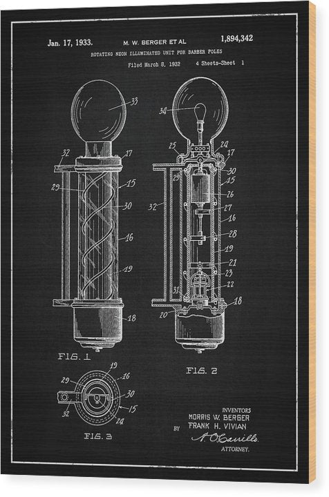 Vintage Barber Pole Patent, 1933 - Wood Print from Wallasso - The Wall Art Superstore