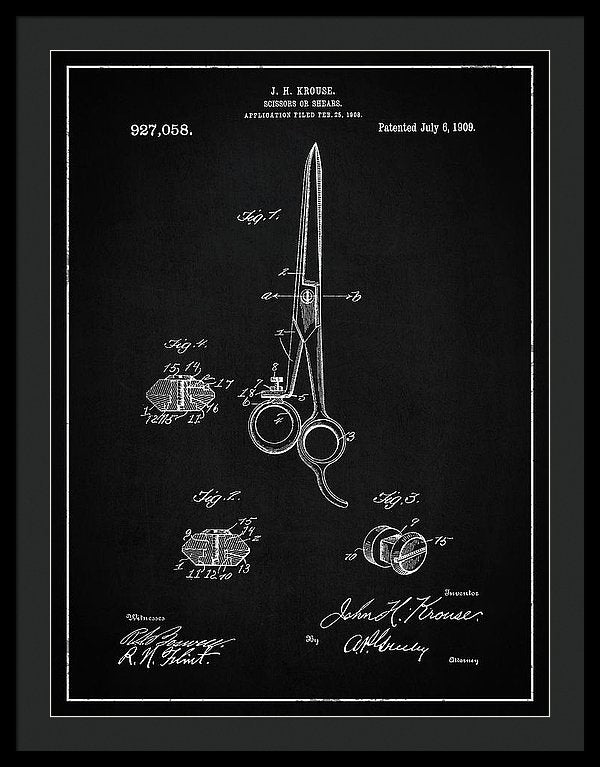 Vintage Barber Shears Patent, 1909 - Framed Print from Wallasso - The Wall Art Superstore
